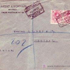 Sellos: CARTA CERTIFICADA 1922 DE MADRID (ALCANCE NORTE) A HERISAU (SUIZA). AL DORSO, MATASELLOS DE LLEGADA.. Lote 23492654