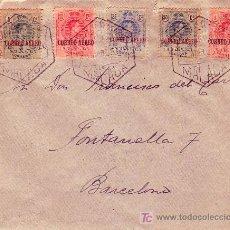 Sellos: ALFONSO XIII MEDALLON CORREO AEREO (EDIFIL 292/96 EN CARTA CIRCULADA 1925 DE MALAGA A BARCELONA RARA. Lote 23952306