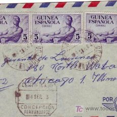 Timbres: FERNANDO POO CARTA CIRCULADA CERTIFICADA 1964 DE CONCEPCION A CHICAGO (USA). RARA LOCALIDAD ORIGEN.. Lote 24555653