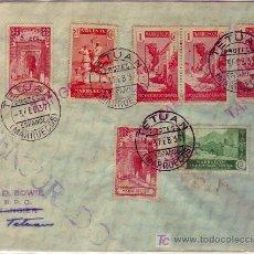 Sellos: MARRUECOS ESPAÑOL: CARTA CIRCULADA 1937 TETUAN INTERIOR. MATASELLOS LINEAL TANGER TINTA ROJA.. Lote 23184847