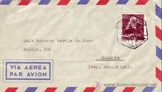 MEDICINA DR FERRAN EN CARTA CIRCULADA POR CORREO AEREO CERTIFICADO 1953 DE VALENCIA A ARGENTINA. MPM (Sellos - Historia Postal - Sello Español - Sobres Circulados)