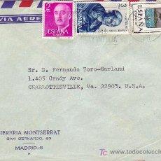 Sellos: GENERAL FRANCO Y OTROS SELLOS EN CARTA CIRCULADA 1966 DE MADRID A ESTADOS UNIDOS. MPM.. Lote 3937905