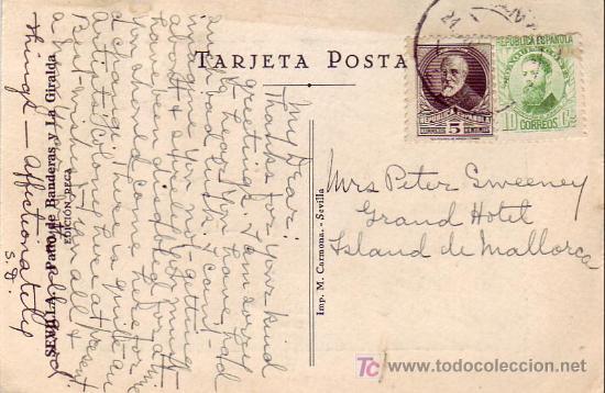 REPUBLICA ESPAÑOLA RARA TARJETA DIBUJO GIRALDA SEVILLA CIRCULADA A PALMA DE MALLORCA (BALEARES) MPM (Sellos - Historia Postal - Sello Español - Sobres Circulados)