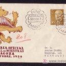 Sellos: ESPAÑA.(CAT.1144,1149).1956.SOBRE CERTIF. DE ZARAGOZA A BARCELONA.MAT. ESPECIAL. LLEGADA. MAGNÍFICA.. Lote 25333295