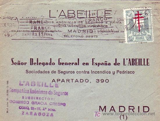 PRO TUBERCULOSOS 1942 EN CARTA CIRCULADA DE ZARAGOZA A MADRID. UNICO FRANQUEO. LLEGADA. RARA ASI. (Sellos - Historia Postal - Sello Español - Sobres Circulados)