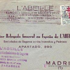 Sellos: PRO TUBERCULOSOS 1942 EN CARTA CIRCULADA DE ZARAGOZA A MADRID. UNICO FRANQUEO. LLEGADA. RARA ASI.. Lote 22776767