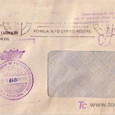 Sellos: ESPAÑA.1972. SOBRE DE TERUEL. MARCA DE FRANQUICIA DE TERUEL EN VIOLETA. MAGNÍFICA.. Lote 24351751