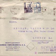 Sellos: CARTA COMERCIAL DESTILACIONES BORDAS CHINCHURRETA CIRCULADA 1937 SEVILLA-LONDRES PRO SEVILLA CM. MPM. Lote 4502417