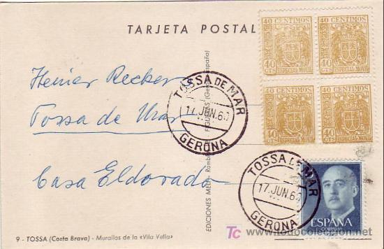 ESPECIAL MOVIL BLOQUE DE CUATRO BONITA Y RARA TARJETA MURALLAS VILA VELLA TOSSA DE MAR (GERONA) MPM (Sellos - Historia Postal - Sello Español - Sobres Circulados)