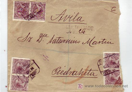 ALFONSO XIII PELON (15 CTS PAREJAS) CARTA CIRCULADA 1894 CORREO CERTIFICADO MADRID-PIEDRAHITA AVILA. (Sellos - Historia Postal - Sello Español - Sobres Circulados)