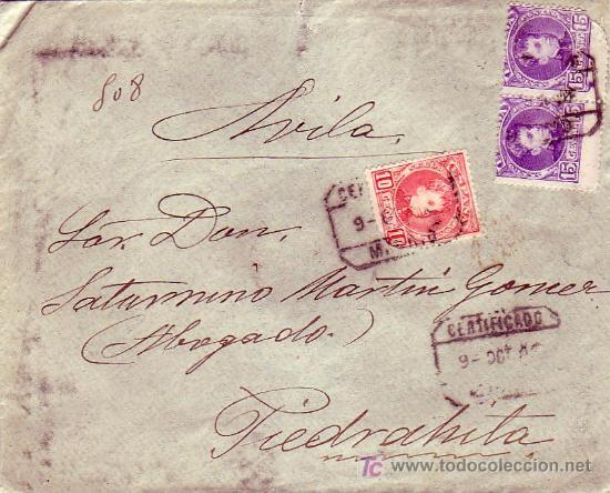VARIEDAD ALFONSO XIII CADETE DENTADO DESPLAZADO EN CARTA CERTIFICADA DE MADRID A PIEDRAHITA (AVILA). (Sellos - Historia Postal - Sello Español - Sobres Circulados)