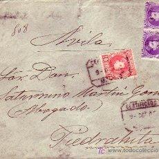 Sellos: VARIEDAD ALFONSO XIII CADETE DENTADO DESPLAZADO EN CARTA CERTIFICADA DE MADRID A PIEDRAHITA (AVILA).. Lote 24602877