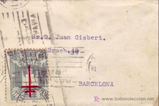 CARTA CIRCULADA 1942 DE MADRID A BARCELONA CON UNICO FRANQUEO 40+10 CTS. PRO TUBERCULOSOS 1942. RARA (Sellos - Historia Postal - Sello Español - Sobres Circulados)