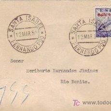 Sellos: GUINEA ESPAÑOLA DE LA CIERVA EN CARTA CIRCULADA 1952 DE SANTA ISABEL A RIO BENITO. BONITA Y RARA.. Lote 24645532