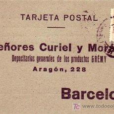 Sellos: MARRUECOS ESPAÑOL TARJETA COMERCIAL CURIEL Y MORAN CIRCULADA 1923 DE TETUAN A BARCELONA. RARA ASI.. Lote 23654635