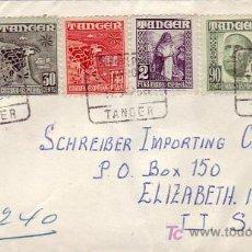 Sellos: TANGER MARRUECOS ESPAÑOL CARTA CERTIFICADA 1956 DE TANGER A USA BONITO FRANQUEO Y MATASELLOS LLEGADA. Lote 26780557