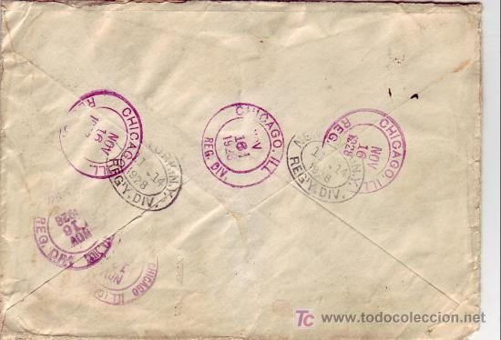 Sellos: CARTA CIRCULADA CORREO CERTIFICADO 1923 DE BARCELONA A CHICAGO (USA). AL DORSO, TRANSITO Y LLEGADA. - Foto 2 - 22601514
