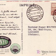 Sellos: FERNANDO POO: RARA TARJETA TORTUGA CIRCULADA 1953 SANTA ISABEL A SUIZA.. Lote 23409861