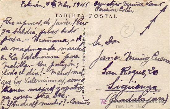 Sellos: MARRUECOS ESPAÑOL: TARJETA CIRCULADA 1946 DE TETUAN A SIGÜENZA (GUADALAJARA). - Foto 2 - 23990802