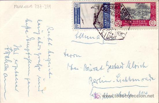 MARRUECOS ESPAÑOL: TARJETA CIRCULADA POR CORREO AEREO 1953 DE TETUAN A BERLIN. (Sellos - Historia Postal - Sello Español - Sobres Circulados)