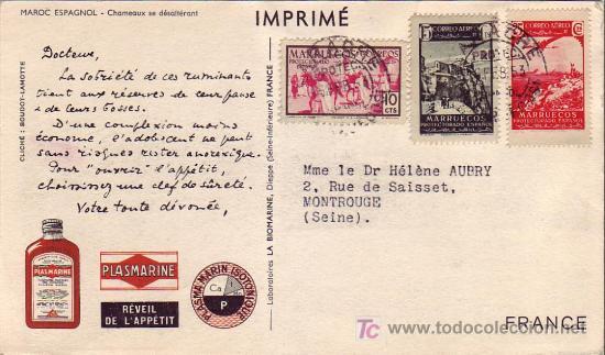 MARRUECOS ESPAÑOL: TARJETA COMERCIAL CAMELLOS CIRCULADA 1953 DE LARACHE A FRANCIA. (Sellos - Historia Postal - Sello Español - Sobres Circulados)