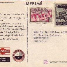 Sellos: MARRUECOS ESPAÑOL: TARJETA COMERCIAL CAMELLOS CIRCULADA 1953 DE LARACHE A FRANCIA.. Lote 23492658