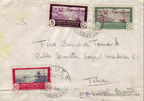 MARRUECOS ESPAÑOL: CARTA CIRCULADA 1951 DE XAUEN A TETUAN. AL DORSO, MATASELLOS DE LLEGADA. (Sellos - Historia Postal - Sello Español - Sobres Circulados)