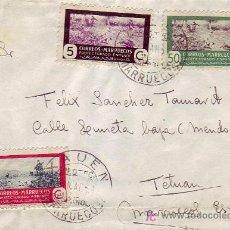 Sellos: MARRUECOS ESPAÑOL: CARTA CIRCULADA 1951 DE XAUEN A TETUAN. AL DORSO, MATASELLOS DE LLEGADA.. Lote 23267127