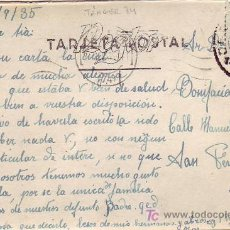 Sellos: MARRUECOS ESPAÑOL: SELLO DENTADO DESPLAZADO EN TARJETA CIRCULADA 1935 DE TANGER A SAN FERNANDO.. Lote 22601518