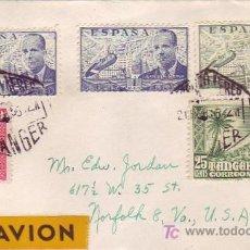 Sellos: MARRUECOS ESPAÑOL: FRANQUEO MIXTO EN CARTA CIRCULADA 1955 POR CORREO AEREO DE TANGER A NORFOLK (USA). Lote 22625256