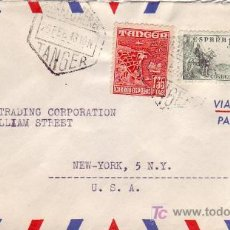 Sellos: TANGER: CARTA COMERCIAL CIRCULADA POR CORREO AEREO 1948 DE TANGER (MARRUECOS ESPAÑOL) A USA. EL CID.. Lote 24028303
