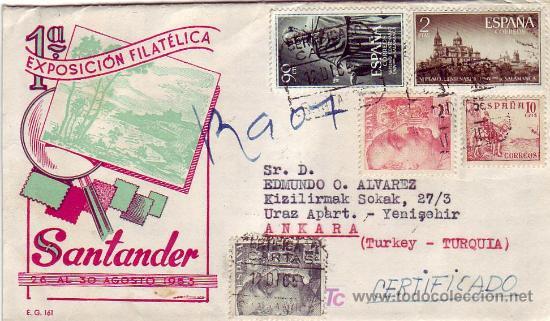 EL CID FRANCO UNIVERSIDAD SALAMANCA EN CARTA CIRCULADA CERTIFICADA 1953 SANTANDER-ANKARA (TURQUIA). (Sellos - Historia Postal - Sello Español - Sobres Circulados)