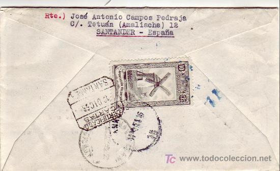 Sellos: EL CID FRANCO UNIVERSIDAD SALAMANCA EN CARTA CIRCULADA CERTIFICADA 1953 SANTANDER-ANKARA (TURQUIA). - Foto 2 - 25135534