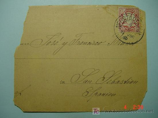 1107 ALEMANIA A SAN SEBASTIAN GUIPUZCOA CARTA POSTAL AÑO 1906 - COSAS&CURIOSAS (Sellos - Historia Postal - Sello Español - Sobres Circulados)
