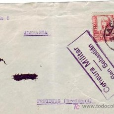 Sellos: FRONTAL DE CARTA CIRCULADA 1937 DE LA CORUÑA A ALEMANIA. CENSURA MILITAR DE SAN SEBASTIAN. MPM.. Lote 5610043