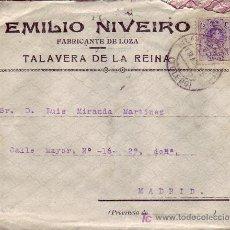 Sellos: CARTA COMERCIAL CON PUBLICIDAD AL DORSO, CIRCULADA 1925 DE TALAVERA DE LA REINA (TOLEDO) A MADRID.. Lote 5647988