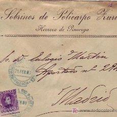 Sellos: RARO MATASELLOS AZUL EN CARTA COMERCIAL CIRCULADA 1909 HERRERA DE PISUERGA PALENCIA A MADRID LLEGADA. Lote 24396051