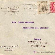 Sellos: MATASELLOS RODILLO EL ACEITE.. EN CARTA CIRCULADA 1938 PAMPLONA (NAVARRA) A BURGOS. CM. EL CID.. Lote 5660224