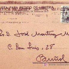 Sellos: RODILLO PUBLICITARIO EN TARJETA COMERCIAL (LIBRERIA MATIAS REAL) CIRCULADA 1931 VALENCIA-BUÑOL. MPM.. Lote 5660296
