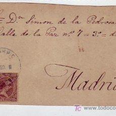 Sellos: RARO MATASELLOS AZUL EN FRONTAL DE CARTA CIRCULADA SOBRE 1900 DE EL CARPIO (CORDOBA) A MADRID. MPM.. Lote 5668241