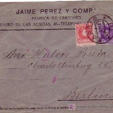 Sellos: VARIEDAD DENTADO DESPLAZADO ALFONSO XIII CADETE EN CARTA COMERCIAL CIRCULADA 1909 DE MADRID A BERLIN. Lote 5694809
