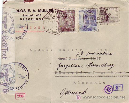 EL CID CARTA COMERCIAL C MULLER CIRCULADA 1942 POR CORREO AEREO BARCELONA A ALEMANIA. DOBLE CENSURA. (Sellos - Historia Postal - Sello Español - Sobres Circulados)