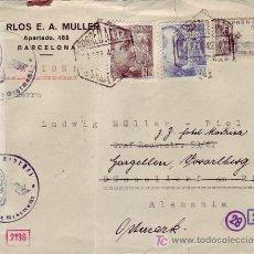 Sellos: EL CID CARTA COMERCIAL C MULLER CIRCULADA 1942 POR CORREO AEREO BARCELONA A ALEMANIA. DOBLE CENSURA.. Lote 24435706