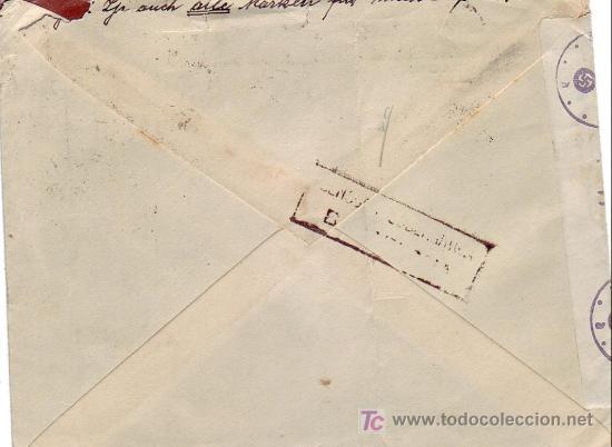 Sellos: EL CID CARTA COMERCIAL C MULLER CIRCULADA 1942 POR CORREO AEREO BARCELONA A ALEMANIA. DOBLE CENSURA. - Foto 2 - 24435706