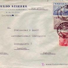 Sellos: GENERAL FRANCO SANCHEZ TODA CARTA COMERCIAL JULIO STIEFEL CIRCULADA AVION BARCELONA-SUIZA. CENSURA.. Lote 24435709