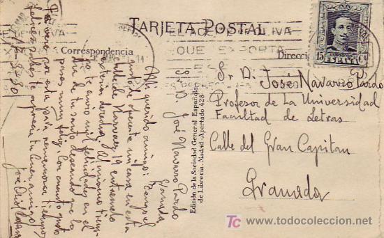 MATASELLOS RODILLO PUBLICITARIO Y CORREO CENTRAL EN TARJETA CIRCULADA 1930 DE MADRID A GRANADA. MPM. (Sellos - Historia Postal - Sello Español - Sobres Circulados)