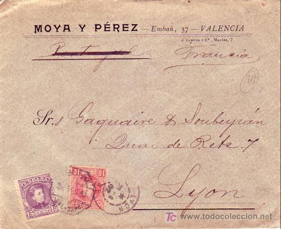 AMB.DESC. I VAL-BAR: RARO MATASELLOS EN CARTA COMERCIAL 1902 DE VALENCIA A LYON (FRANCIA). LLEGADA. (Sellos - Historia Postal - Sello Español - Sobres Circulados)