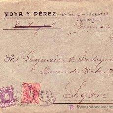 Sellos: AMB.DESC. I VAL-BAR: RARO MATASELLOS EN CARTA COMERCIAL 1902 DE VALENCIA A LYON (FRANCIA). LLEGADA.. Lote 22625287