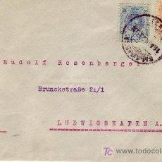 Sellos: CARTA COMERCIAL (ALFREDO MAYER) CIRCULADA 1923 SALAMANCA A ALEMANIA. FRANQUEO BICOLOR ALFONSO XIII.. Lote 24435813