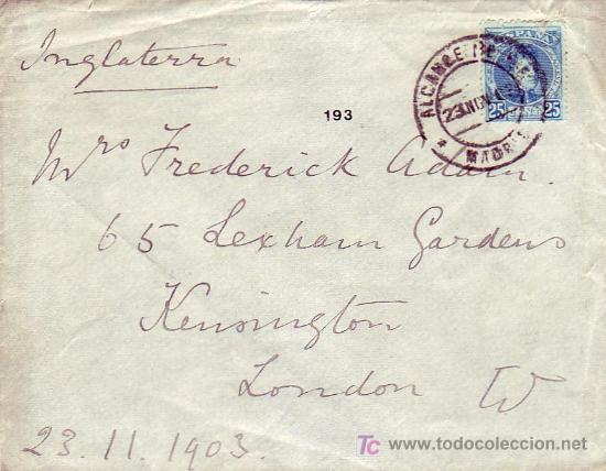 ALCANCE NORTE: RARO MATASELLOS EN CARTA CIRCULADA 1903 DE MADRID A LONDRES. MATASELLOS DE LLEGADA. (Sellos - Historia Postal - Sello Español - Sobres Circulados)